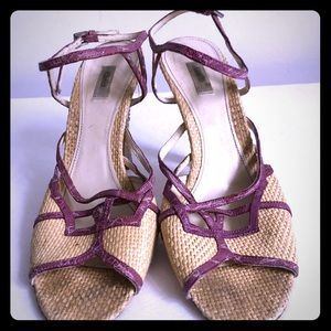 Prada wicker heeled sandal